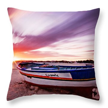 Throw Pillow featuring the photograph Fishing Boat At Sunset / Tunisia by Barry O Carroll