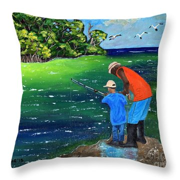 Throw Pillow featuring the painting Fishing Buddies by Laura Forde