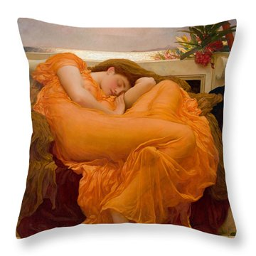 Throw Pillow featuring the painting Flaming June by Frederick Leighton