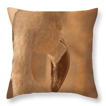 Flamingo On A Fall Day Throw Pillow