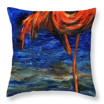 Throw Pillow featuring the painting Flamingo by Xueling Zou