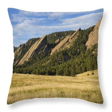 Flatirons With Golden Grass Boulder Colorado Throw Pillow