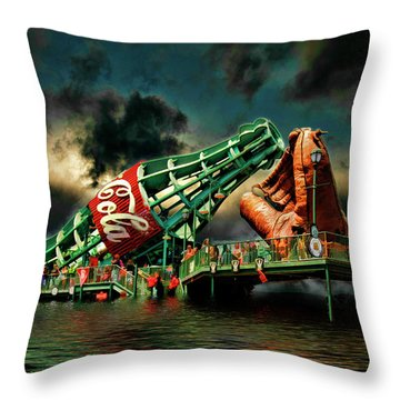 Floating Coke Bottle Throw Pillow