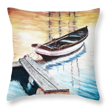 Floating Dock Throw Pillow