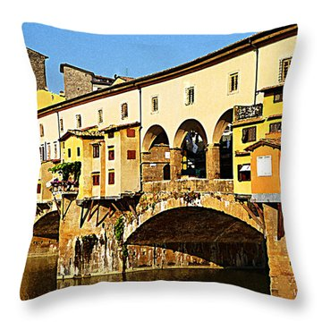 Florence Italy Ponte Vecchio Throw Pillow by Irina Sztukowski