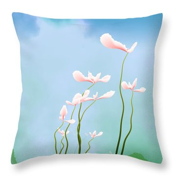 Flowers Of Peace Throw Pillow by GuoJun Pan