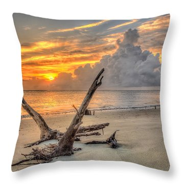 Folly Beach Driftwood Throw Pillow