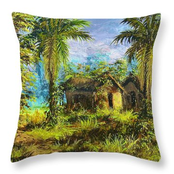 Forest House Throw Pillow