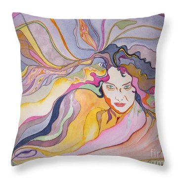 Throw Pillow featuring the painting Forever by Diana Bursztein