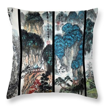 Four Seasons In Harmony Throw Pillow by Yufeng Wang