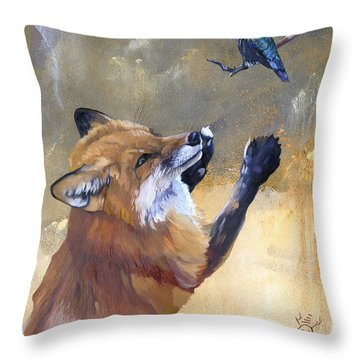 Fox Dances For Hummingbird Throw Pillow