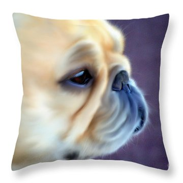 French Bulldog Head Study Throw Pillow by Barbara Chichester