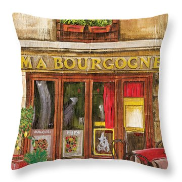 French Cafe Scene Throw Pillows