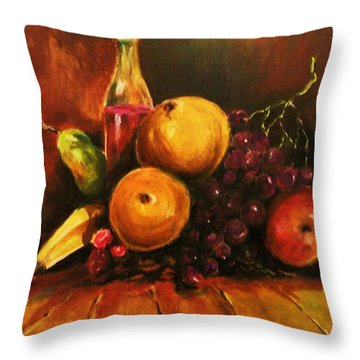 Fruit And Wine Throw Pillow by Al Brown