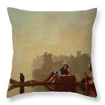 Fur Traders Descending The Missouri Throw Pillow by George Caleb Bingham
