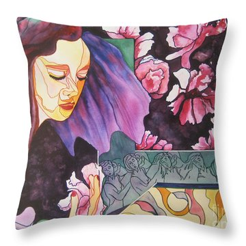 Throw Pillow featuring the painting Garden Secrets by Diana Bursztein