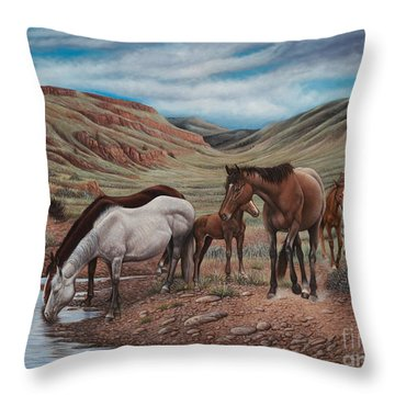 Gathering At Diablo Canyon Throw Pillow