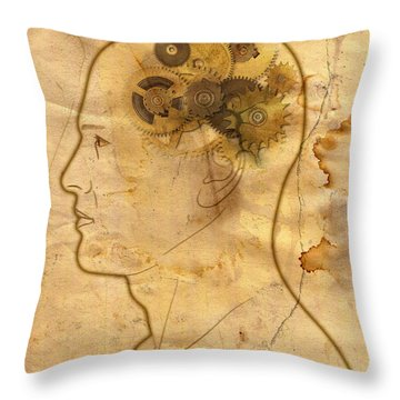 Gears In The Head Throw Pillow by Michal Boubin