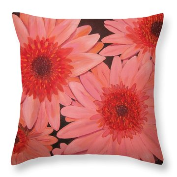 Throw Pillow featuring the painting Gerber Daisies by Sharon Duguay
