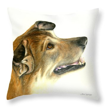 Throw Pillow featuring the painting German Shepherd Dog by Nan Wright
