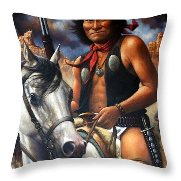 Throw Pillow featuring the painting Geronimo by Harvie Brown