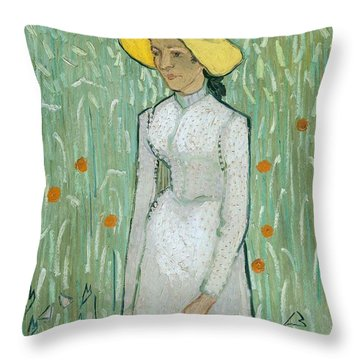 Girl In White Throw Pillow by Vincent van Gogh