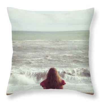 Girl On Beach Throw Pillow by Joana Kruse