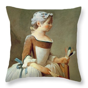 Girl With Racket And Shuttlecock Throw Pillow by Jean-Baptiste Simeon Chardin