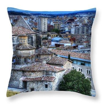 Girona Cityscape Throw Pillow