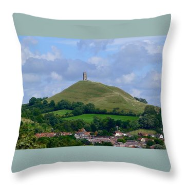 Glastonbury Tor Throw Pillow