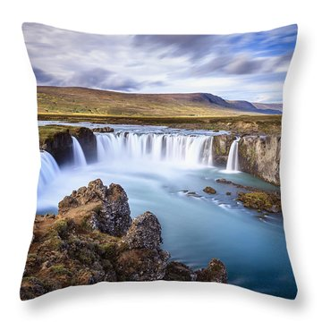 Godafoss Waterfall Throw Pillow by Alexey Stiop