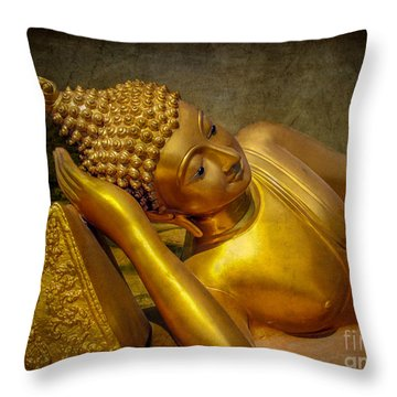 Golden Buddha Throw Pillow by Adrian Evans