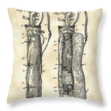 Golf Bag Patent 1905 - Vintage Throw Pillow by Stephen Younts