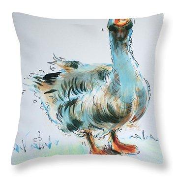 Goose Drawing Throw Pillow