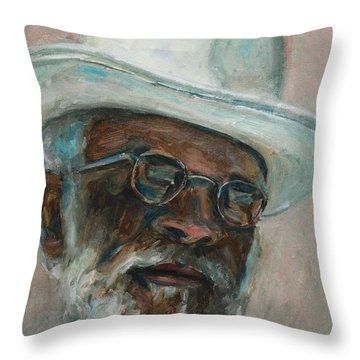 Gray Beard Under White Hat Throw Pillow