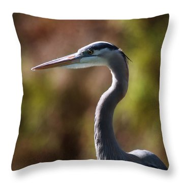 Great Blue Heron Throw Pillow by Joseph G Holland