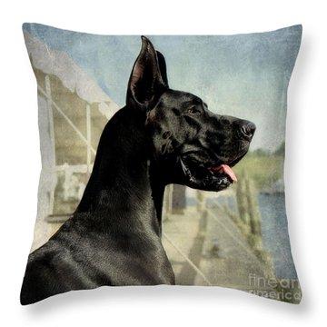 Great Dane Throw Pillow by Fran J Scott