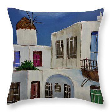Throw Pillow featuring the painting Greek Village by Janice Rae Pariza