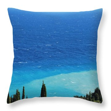 green and blue Erikousa Throw Pillow