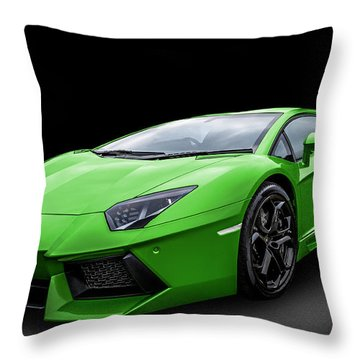 Green Aventador Throw Pillow