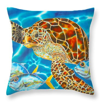 Green Sea Turtle Throw Pillow by Daniel Jean-Baptiste