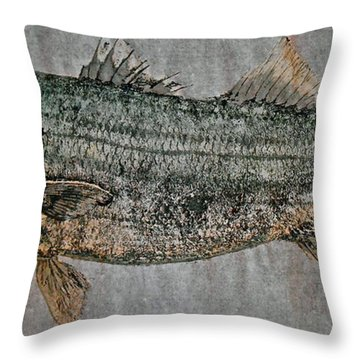 Gyotaku - Striped Bass - Rock Fish - Striper Throw Pillow