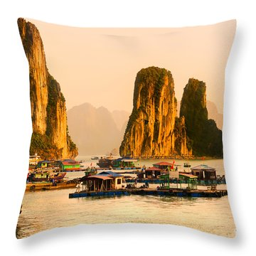 Halong Bay - Vietnam Throw Pillow by Luciano Mortula
