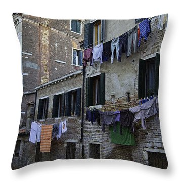 Hanging Out To Dry In Venice Throw Pillow