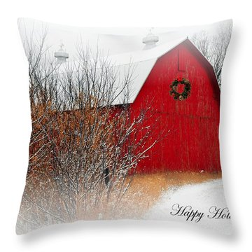 Happy Holidays Throw Pillow by Terri Gostola