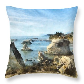 Hazy Lazy Day Pismo Beach California Throw Pillow by Barbara Snyder