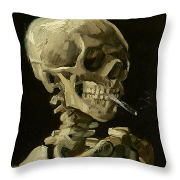 Head Of A Skeleton With A Burning Cigarette Throw Pillow