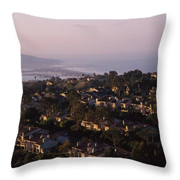 High Angle View Of Buildings In A City Throw Pillow
