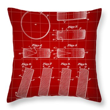 Hockey Puck Patent 1940 - Red Throw Pillow