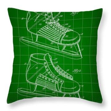 Hockey Shoe Patent 1934 - Green Throw Pillow